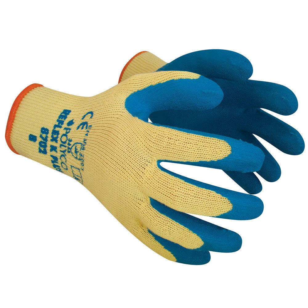 Polyco Reflex K Plus Cut Resistant Latex Coated Grip Blue Safety Work Glove