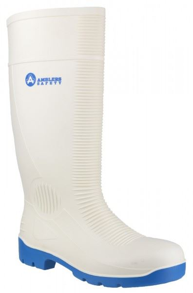 Amblers FS98 Unisex S4 Antistatic Safety Wellington - White