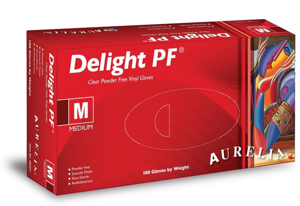 Aurelia Delight Vinyl Powder Free Latex Free Gloves, Pack of 100