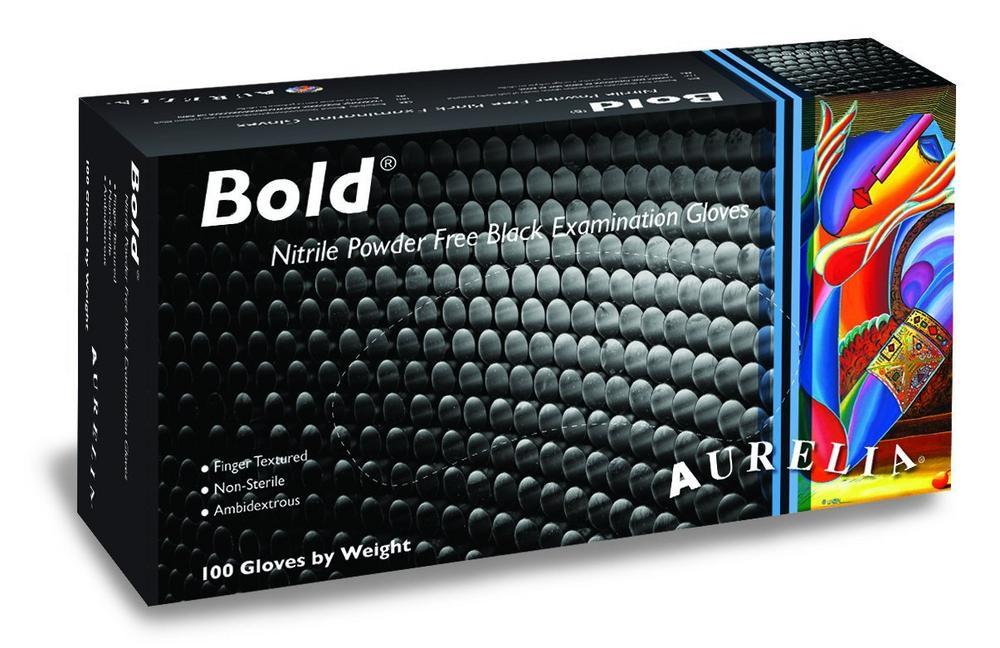 Aurelia Bold Black Nitrile Powder Free Examination Disposable Gloves, Pack of 100