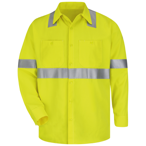 Bulwark SMW4HV Hi-Visibility Yellow Arc Flame Resistant Long Sleeve Work Shirt