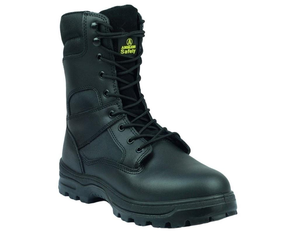 Amblers Combat Style S3 Safety Boot Side Zip Black FS008