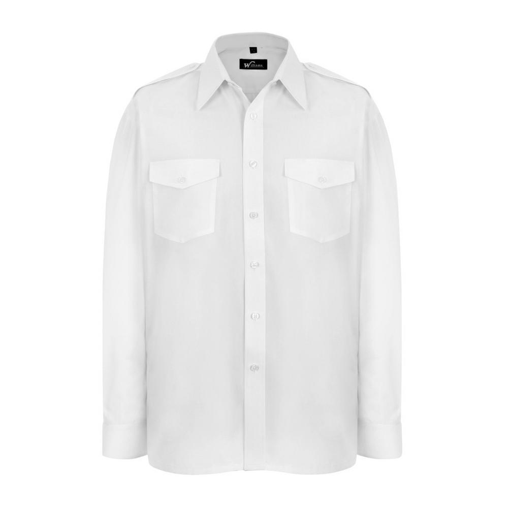 Williams P215/1 Long Sleeve Pilot Shirt White
