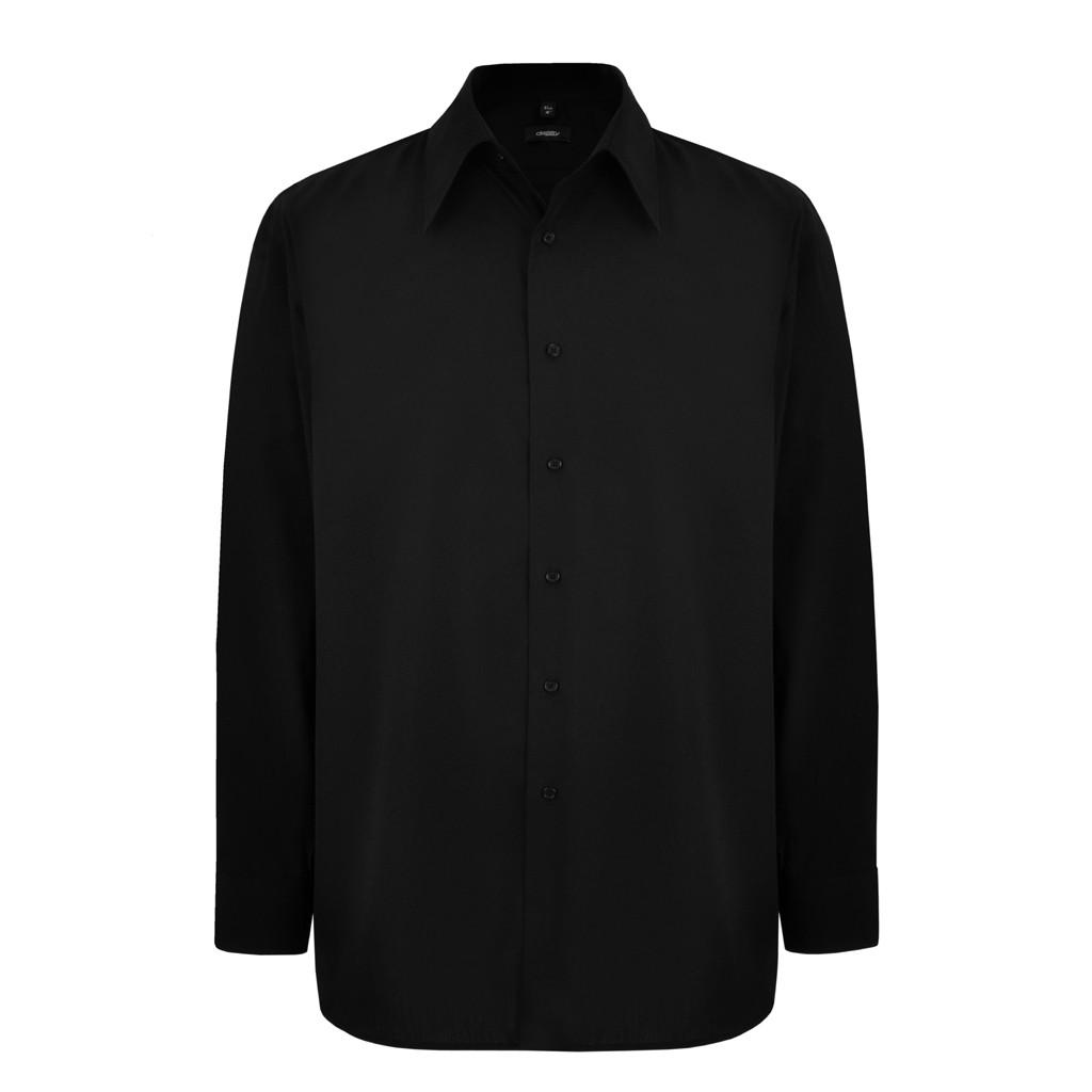 Disley cf922 mens black long sleeve shirt for Black long sleeve work shirt