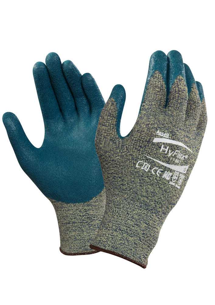 Ansell 11-501 HyFlex Cut Resistant Work Glove Kevlar Palm Coated