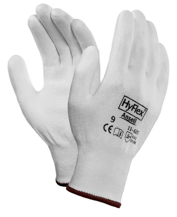 Ansell 11-625 HyFlex Work Gloves PU Palm Coated Level 3 Cut Protection