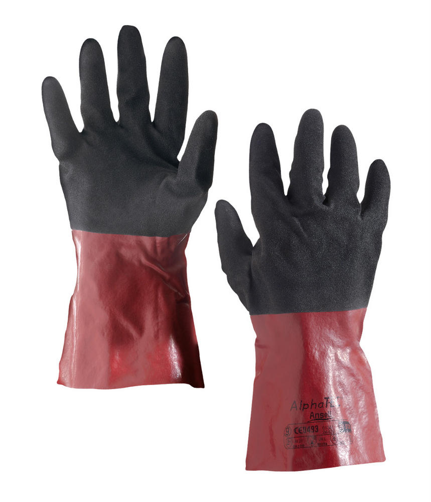 Ansell 58-530 Polymer Coated Alpha Tec Glove - Black\Red