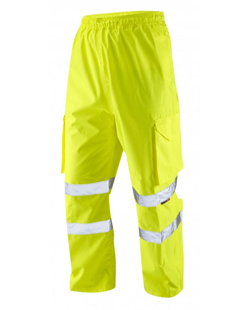 Leo Workwear Appledore L01 Hi-Vis Waterproof Cargo Overtrouser Yellow