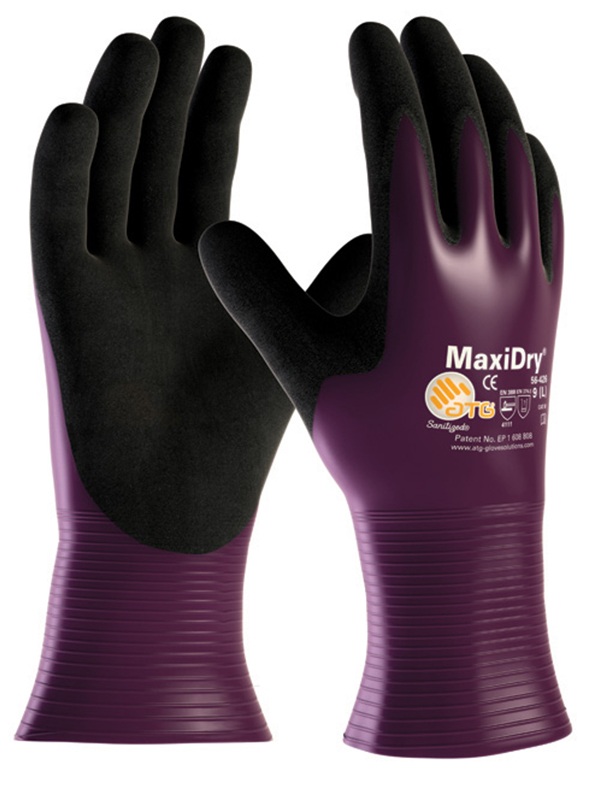 ATG MaxiDry 56-426 Nitrile Full Coating Non Slip Work Gloves