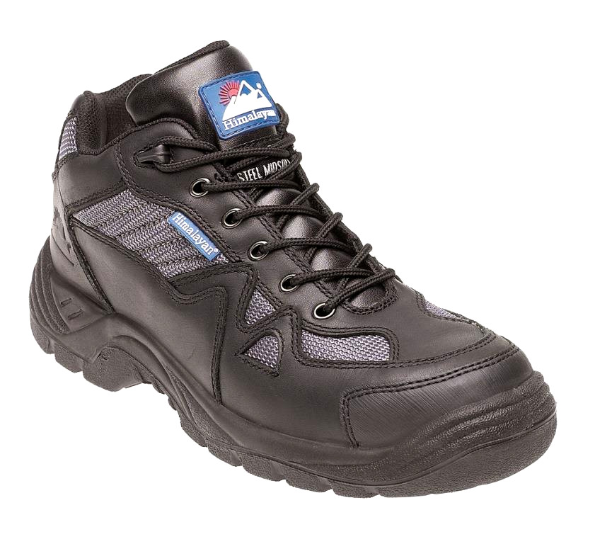 Himalayan Black/Silver Leather/Nylon Safety Cross Trainer, TPU Sole & Midsole