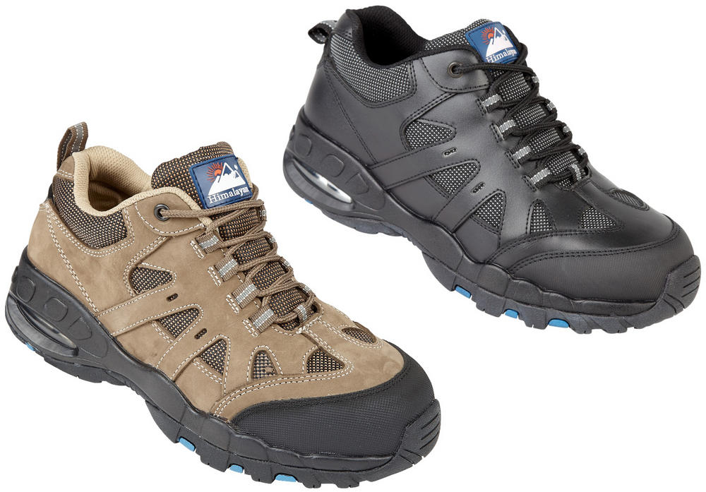 Himalayan Black Leather Safety Trainer, with Air Bubble EVA/Rubber Sole and a steel Midsole