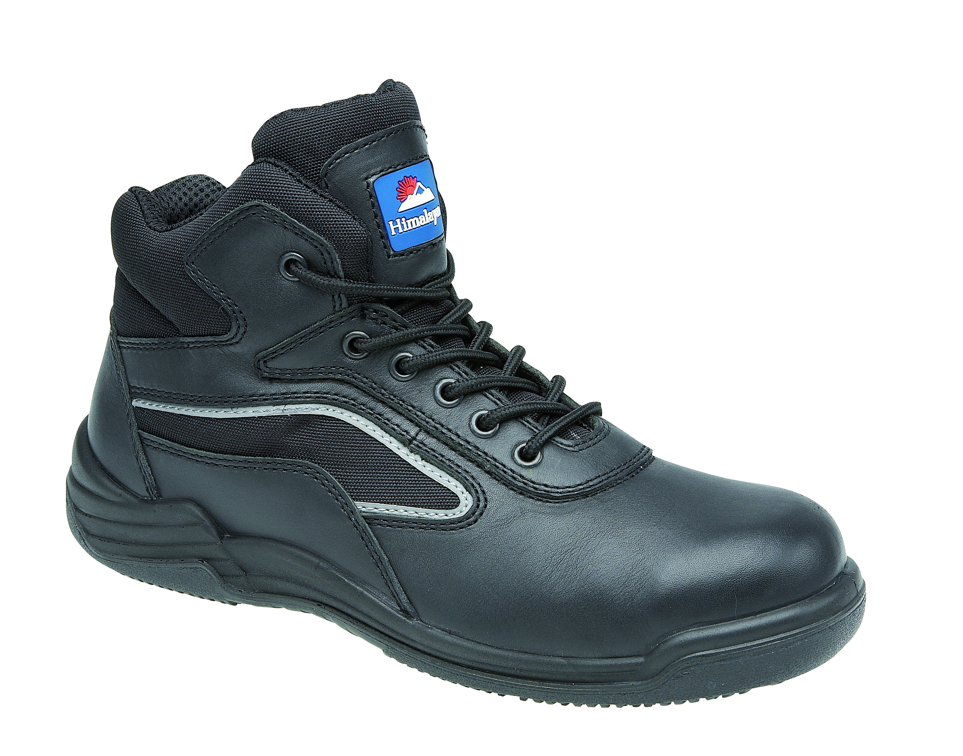 Himalayan Black Leather Safety Trainer Boot Metal Free Cap/Midsole PU Rubber Sole
