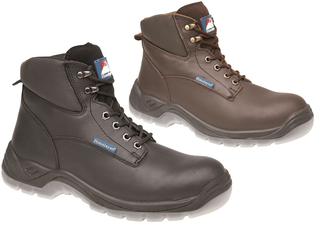 Himalayan Brown Full Grain Leather Safety Boot with PU/PU Clear Sole & Midsole