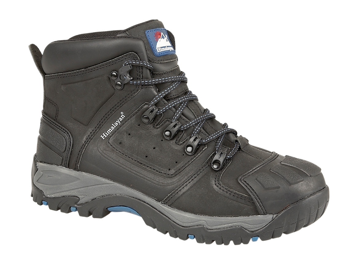 99fee8324dd Himalayan Black Waterproof S3 ankle safety boot with heavy duty scuff cap  and rubber sole