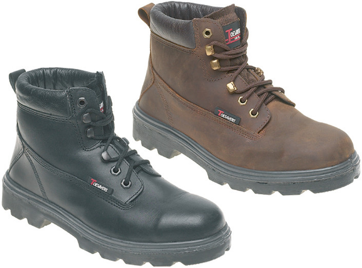 Toesavers Black Leather Safety Boot with Dual Density Sole & Midsole