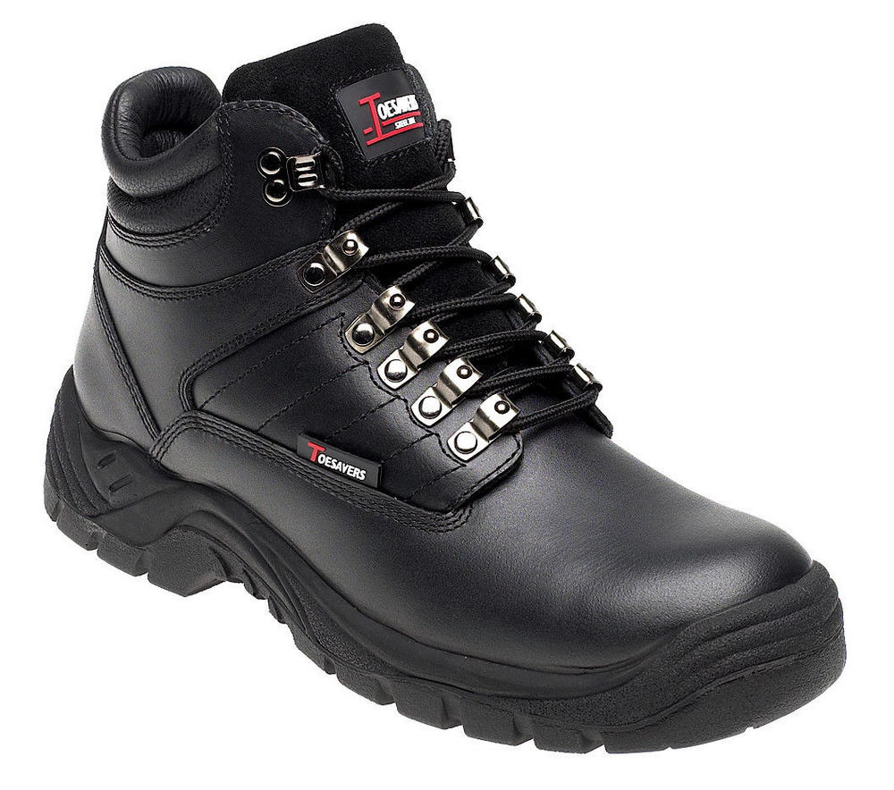 Toesavers Black Leather Safety Boot 1905 with Dual Density Sole & Midsole