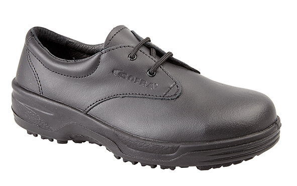 Himalayan Womens Cofra Black Leather Lace Safety Shoe with Dual Density PU Sole