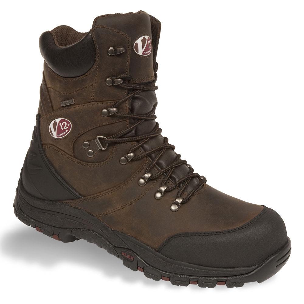 V12 Rocky Waterproof Brown Side Zip S3 Safety Hiker Boot V1255