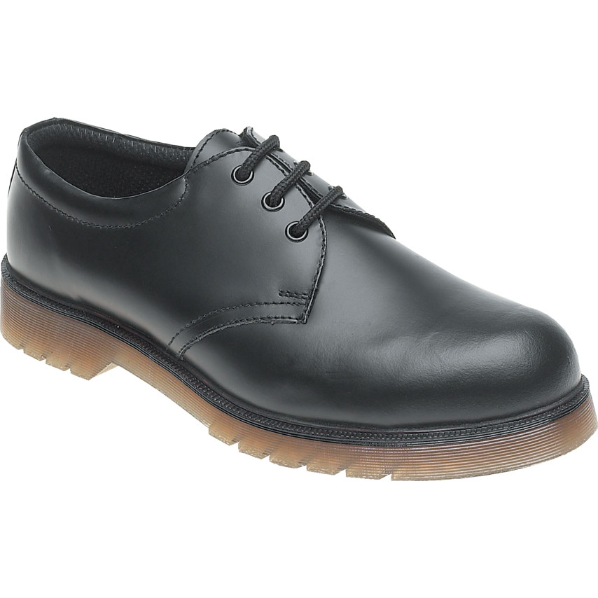 Himalayan Black Leather Safety Shoe AC02 with Aircushioned PVC Sole