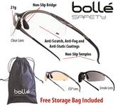 Bolle Contour Safety Glasses/Glasses Various Colours FREE Microfiber Pack 10