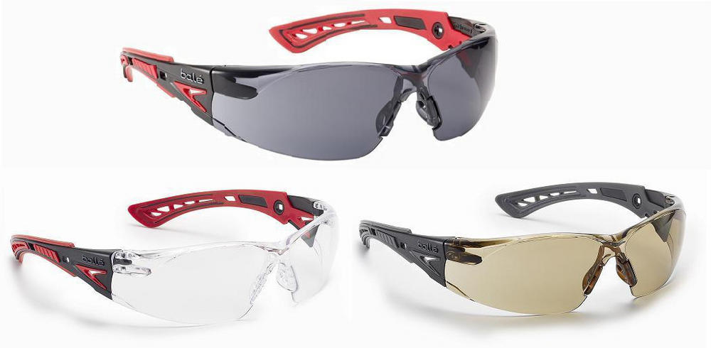 Bolle Rush+ Sporty Safety Glasses - Smoke-Clear-Twilight Colour Lens