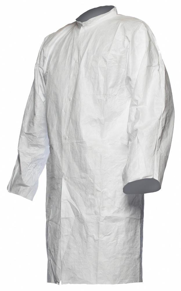 DuPont Tyvek Disposable Coat Lab White No Pockets Pl30Np