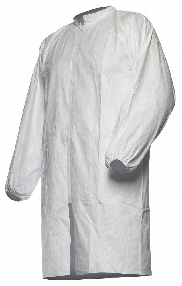 DuPont Tyvek Disposable Coat Lab White With Pockets & Zip Pl309