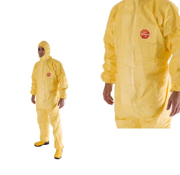 DuPont Tychem C Coverall Yellow Hooded Over-taped Seams Cha5 (Pack of 5)