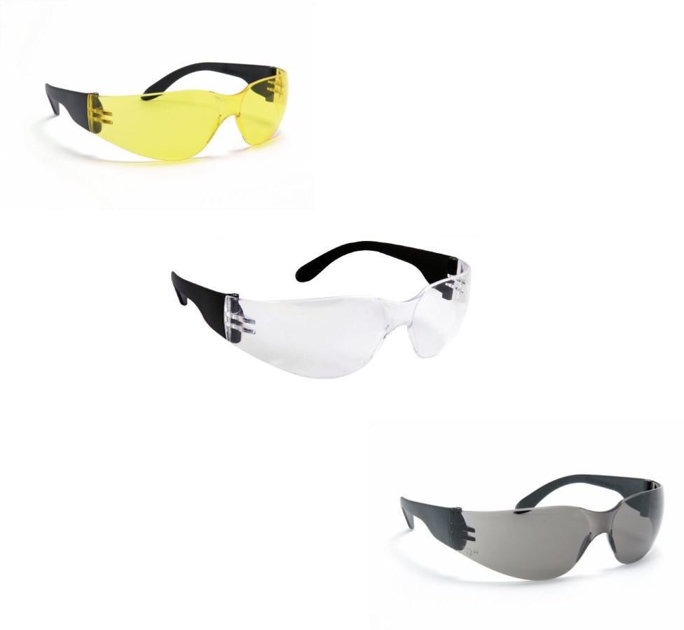 Blackrock One-Piece Curved Safety Glasses - 3 Colours (Pack of 12)