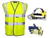 Petzl Headlamp E69P + Hi-Vis Vest + Hi-Vis Gloves
