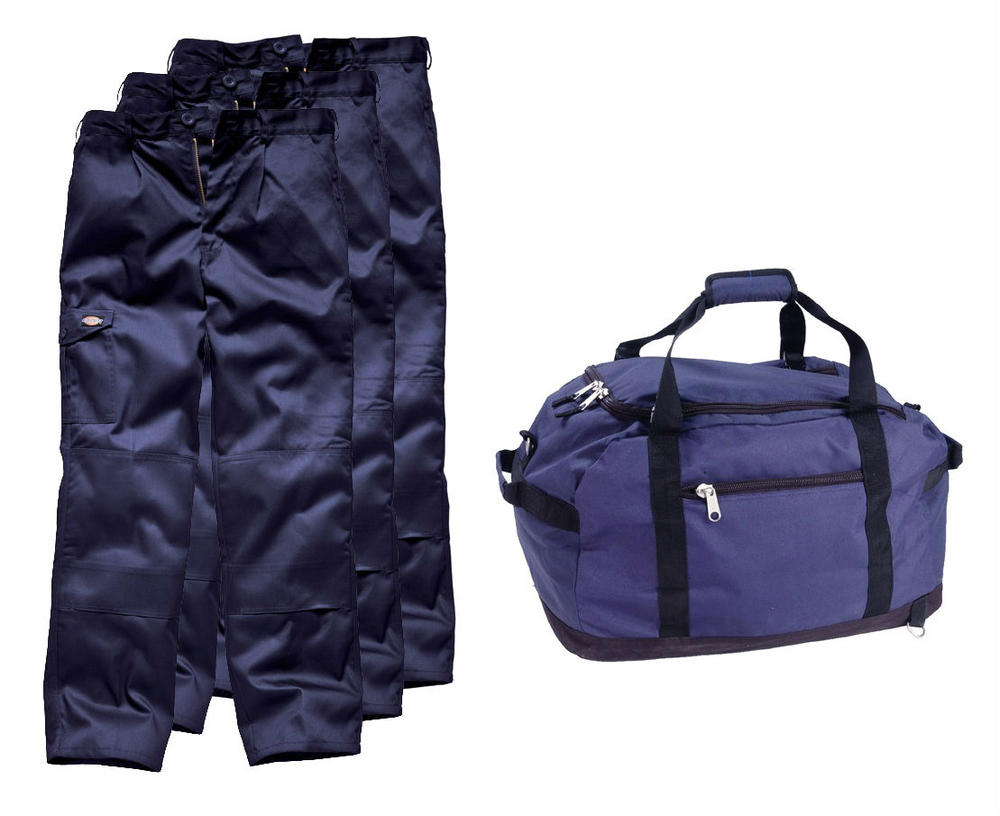 3 x Dickies Redhawk Knee Pad Pockets Trousers + Helibag Nylon Navy Bag