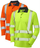 Leo Workwear Swimbridge Hi Vis Poly/Cotton Sleeved Polo Shirt