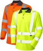 Leo Workwear Woolsery Hi Vis Coolviz Sleeved Polo Shirt