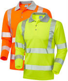 Leo Workwear Barricane Hi Vis Coolviz Plus Sleeved Polo Shirt Segmented Tape