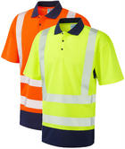 Leo Workwear Mortehoe Hi Vis Dual Colour Coolviz Segmented Tape Polo Shirt