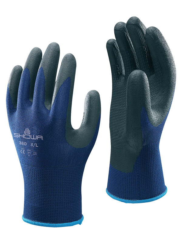 Showa Globus Black & Blue Nitrile Coated Foam Grip Glove 380 (3.1.2.1)