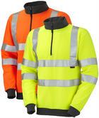 Leo Workwear Brynsworthy Hi-Vis 1/4 Zip Sweatshirt