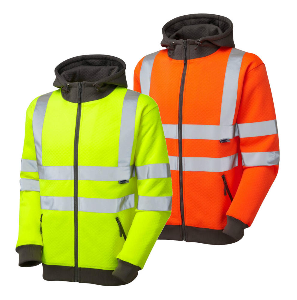 Leo Workwear SS02 Saunton Hi-Vis Diamond Quilt Hooded Sweatshirt