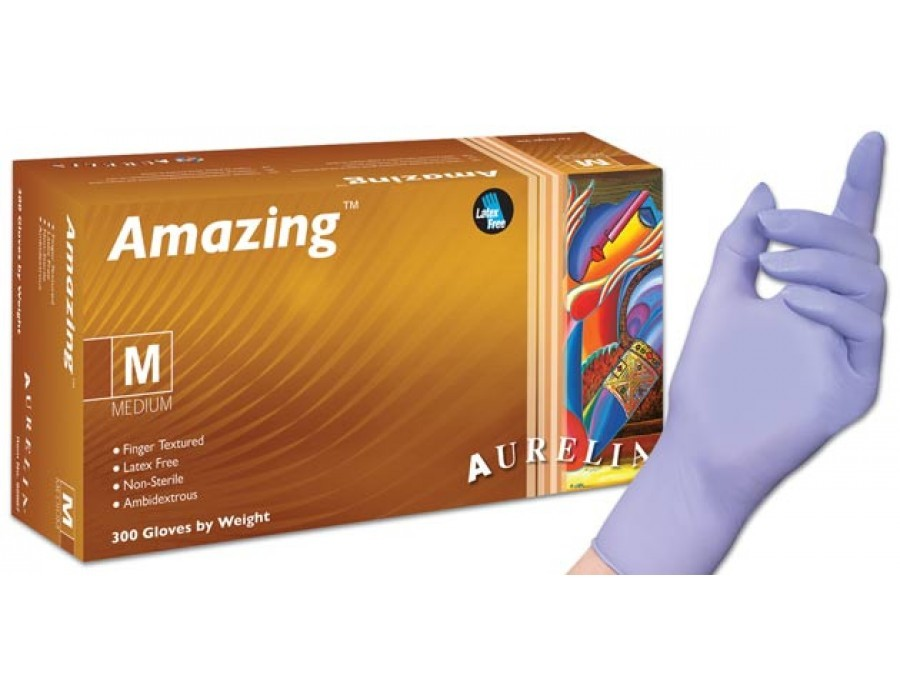 Aurelia Amazing Disposable Nitrile Powderfree One Use Protective Disposable Gloves, Box of 300