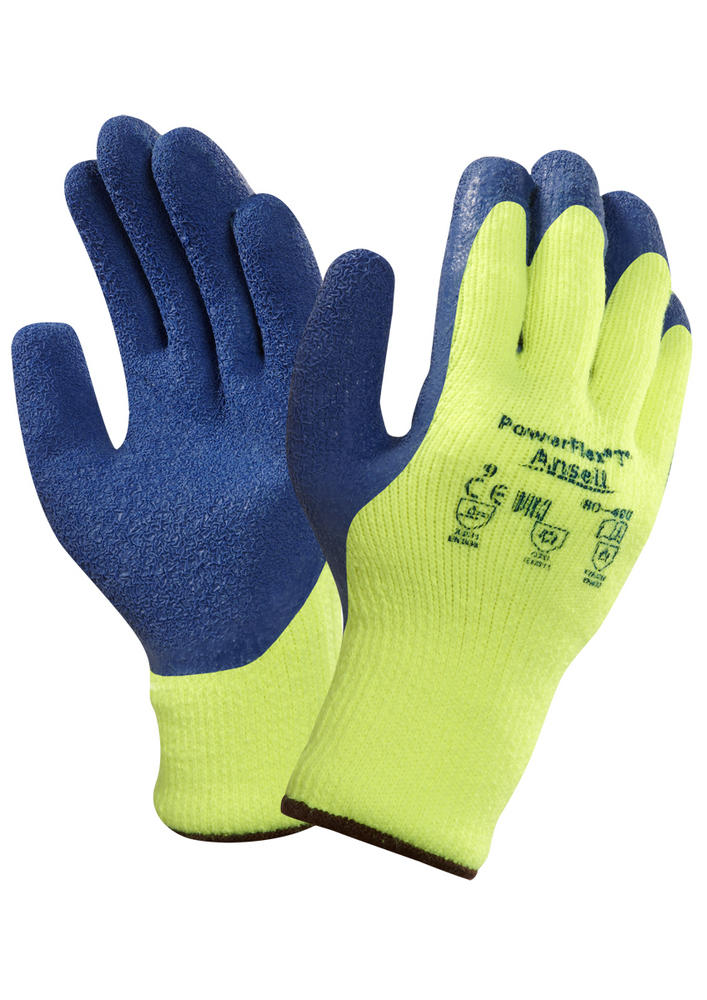 Ansell Powerflex 80-400 Insulated Latex Palm Coat Hi Vis Glove
