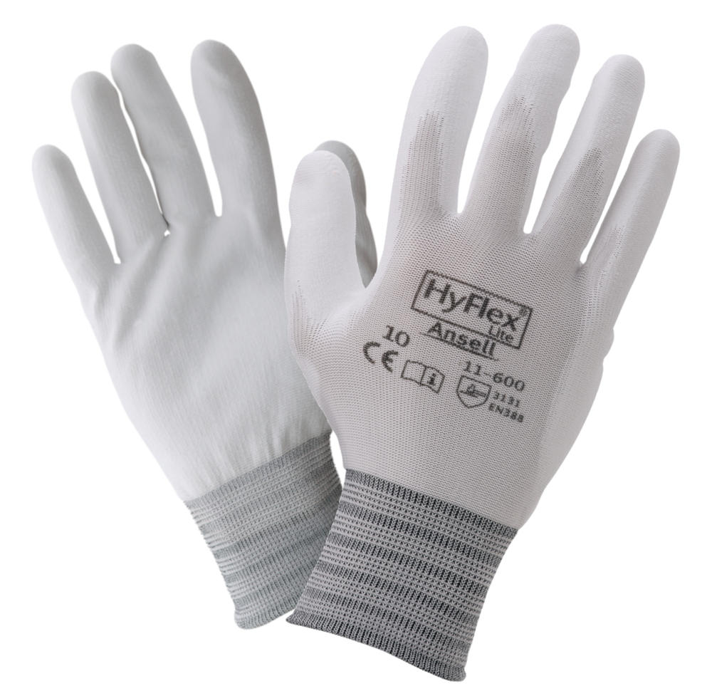 Ansell 11-600 Hyflex White Work Gloves Antistatic PU Palm Coating