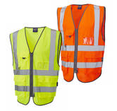 Leo Workwear Barnstaple Hi-Vis Orange Superior Railway Waistcoat