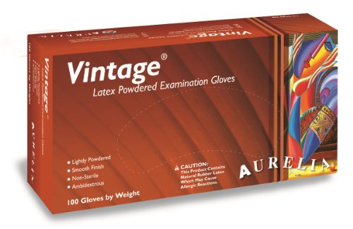 Aurelia Vintage Latex Powdered Disposable Gloves (100 Pack)