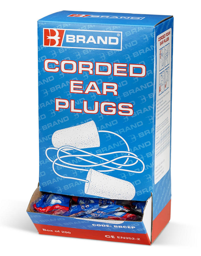 B Brand Corded Foam Disposable Earplugs BBCEP - 200 Pack