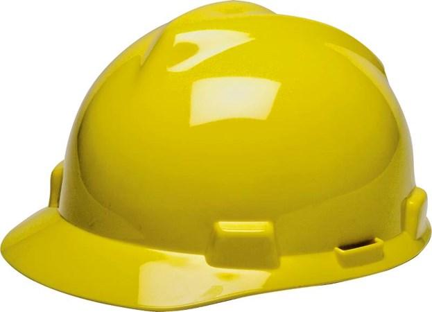 MSA Vgard Gv121 Hdpe Original Yellow Helmet C/W Staz-On