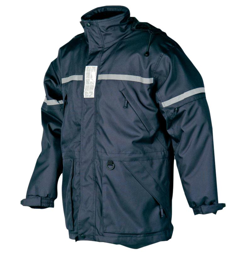 Sioen 194A Membrey Waterproof Reflective Hi Vis Hooded Navy Work Rain Winter Jacket
