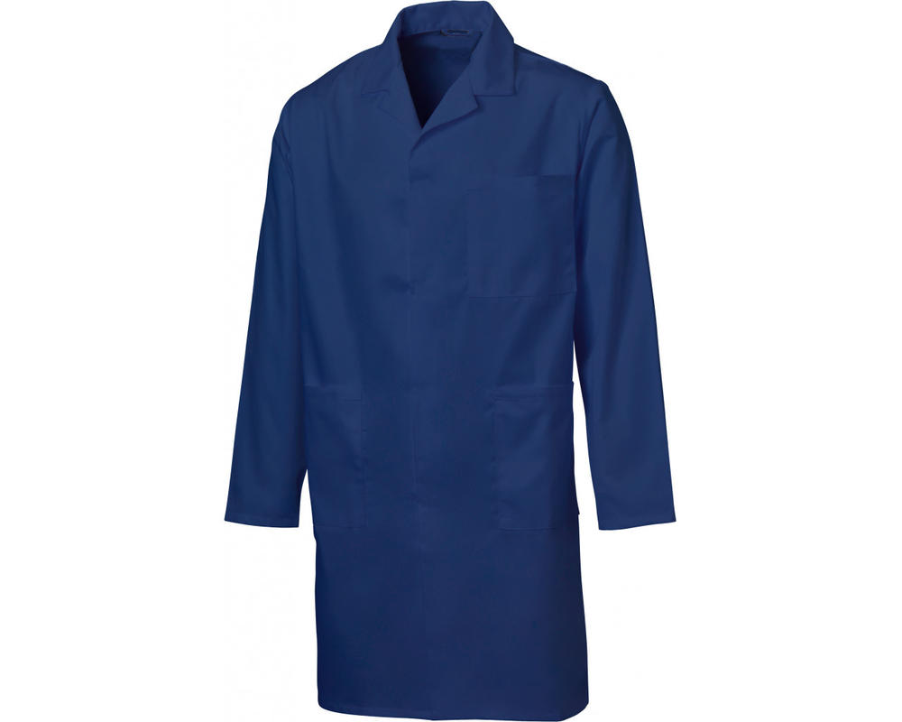 Beeswift PCWC Mens Warehouse Coat 100% Polycotton Stud Closure Uniforms Workwear Navy