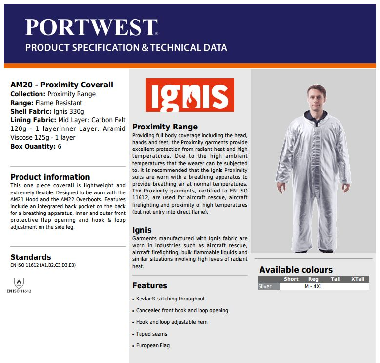 Portwest Am20 Proximity Coverall