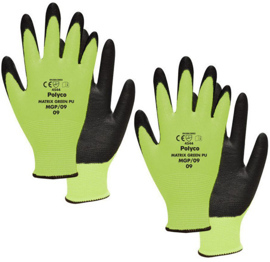 Polyco Matrix MGP Green Polyurethane Cut Resistant Gloves (Cut 5 Protection)