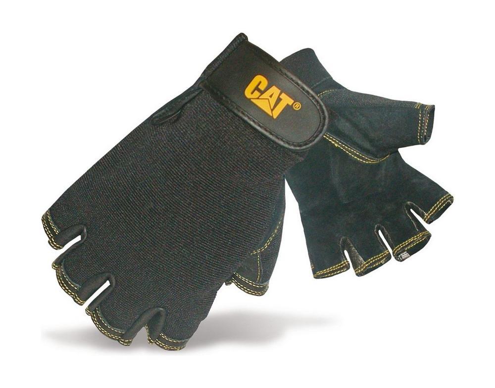 Caterpillar Pigskin Black Fingerless work Gloves